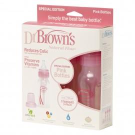 Dr Brown's Natural Flow Special Edition Pink 120ml Bottles (Pack of 3) + Teats