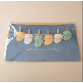 Washing Line - Bootees/Mittens - Welcome Sweet baby