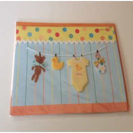Baby card - Clothlines with Teddy, Duck & Bodysuit
