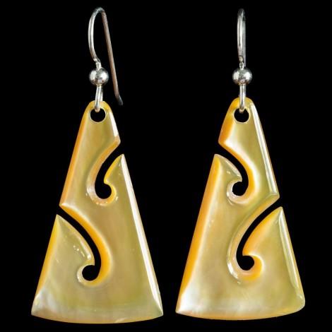 Gold Pearl Koru Earrings by Kerry Thompson