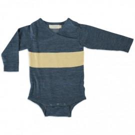 Merino Kids Bodysuit - Blue -Yellow, NB - 3 Months