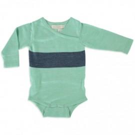 Merino Kids Bodysuit - Green - Navy, NB - 3 Months