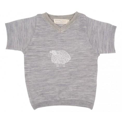 Cocooi Merino V-neck Tee - Grey Print  12 - 24months