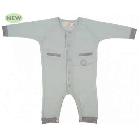 Cocooi Lightweight Merino Onesie - Green Print  -  NB -3mths